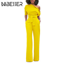 NIBESSER Jumpsuits Women Romper Overalls Sexy One Shoulder Jumpsuit Rompers 2017 Autumn Female Solid Elegant Body Suits Belt Z30