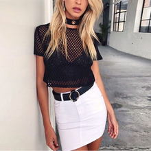 NIBESSER Summer Fishnet T-Shirt Women sexy Hollow Out crop Tops Female Black tee shirts femme casual nightclub t shirts Z30
