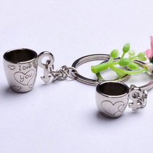 Mini Couple forever love Coffee Cup Heart Engraved Key Chains Keyrings Male Female Symbol Key Holder 2017 new
