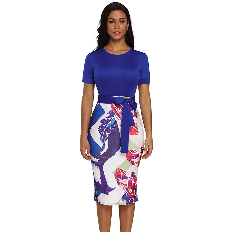 Blue-Bowknot-Short-Sleeve-Printed-Sheath-Dress-LC610096-5-4