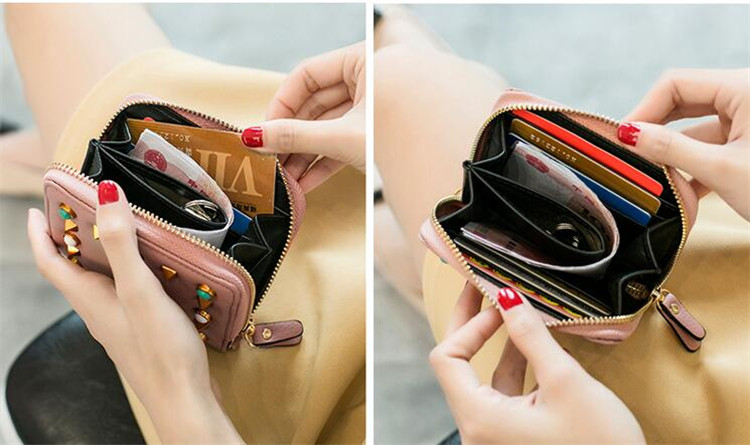 MJ Women Wallets Fashion Colorful Rivets PU Leather Zipper Coin Purse Card Holder Short Wallet with Chain Shoulder Strap (33)