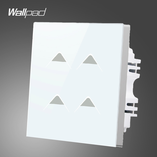 Smart House Wallpad UK 4 Gang 2 Way 3 way White Fireproof Glass LED Light Touch Screen Wall Panel Switch, Free Shipping<br>