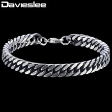 Buy Davieslee Mens Bracelet Boys Curb Cuban Link Chain Stainless Steel Bracelet Gunmetal Tone 8mm DKBM149 for $5.51 in AliExpress store