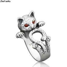 Summer Style Vintage Punk Wedding Ring Boho Animal Cat Rings For Women Fine Jewelry(China)