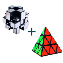 2pcs/set Magic Cube 3x3 Mirror Cube Pyraminx Puzzle Cubes Educational Puzzles toys Christmas Gifts for Children Magico Cubo(China)