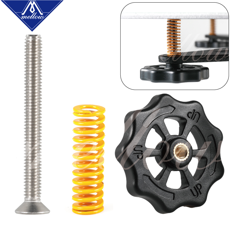 4Pcs 3D Printer Parts M3*45 Screw/&nut Leveling Spring Kit For Heated Bed
