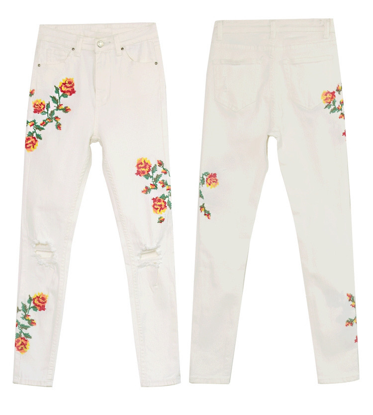 Women's High Waist High Elastic Cross Embroidery Beige Skulls Skinny Jeans Cropped Trousers (5)
