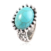New Fashion Blue Oval Turquoises Exaggerated Style Ring For Women Jewelry Gift(China)