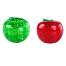 New Apple Shape Puzzles For Children Non-Luminance Adult Puzzle DIY Kids Puzzles 3D Crystal Puzzle Jigsaw Assembly Model(China)