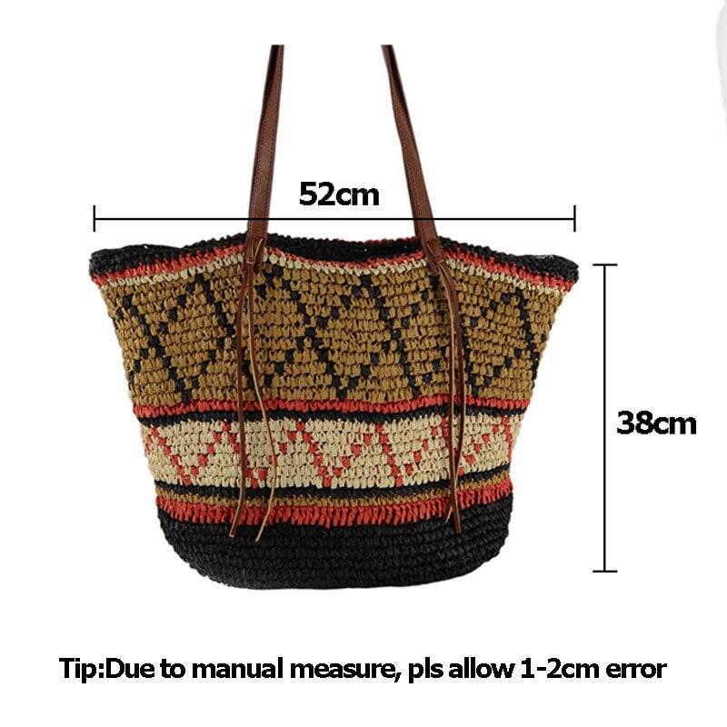 Women Straw Bag Bohemian Female Summer Large Beach Vintage Woven Handbag Lady Shopping Shoulder Bags Travel Casual Tote SS3056 (8)