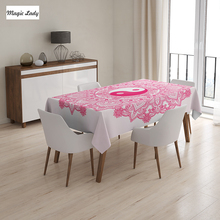 Tarot Tablecloth Traditional Mystical Yin Yang Mandala Pattern Floral Style Ethnic Asian Pink White 145x120 cm / 145x180 cm