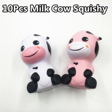 10Pcs New Squishy Cartoon Milk Cow Slow Rising Retail Packaging Jumbo 14CM Phone Straps Scented Pendant Bread Kid Toy Gift Doll