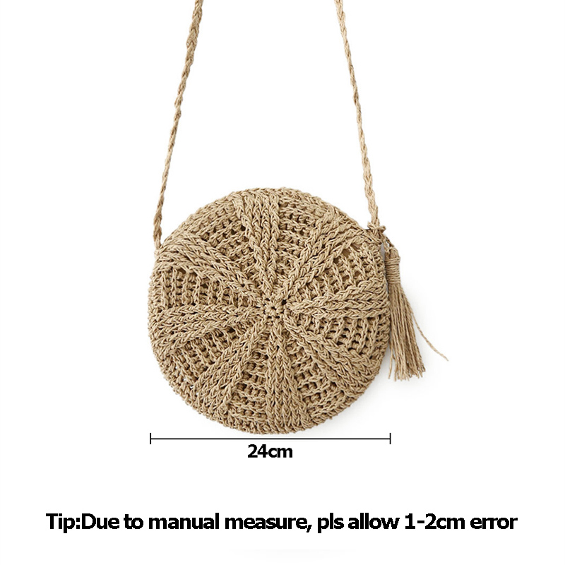 Women Straw Bags Bohemian Raan Female Beach Handbag Circle Lady Weave Messenger Bag Handmade Round Kined Crossbody SS3114 (9)