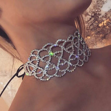Fashion Jewelry Hollow Lace Alloy 8-Shaped Imitation Diamond Necklace Gift For Women Girl