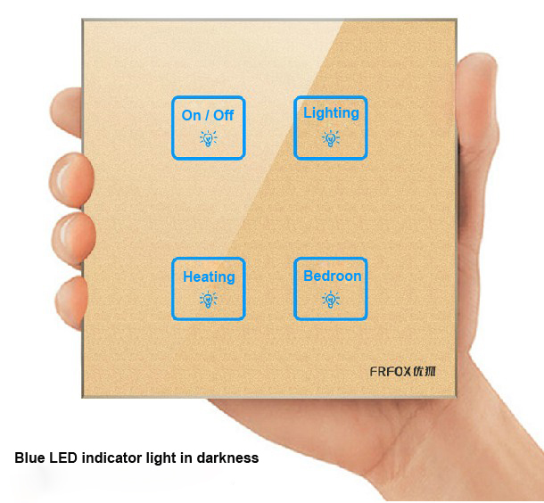 Hot selling Wallpad 4 gangs 1 way Glass Gold touch wall switch,Customize Buttons LED Smart light switch panel,Free Shipping<br>