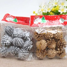 9 PCS /Bag Wooden Gold Silver Pine Cone Christmas Decorations Christmas Tree Hanging Ornament Decorations Pine Cones