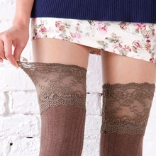 6 Colors Thigh High Socks Girls Stockings Lace Winter Warm Socks Women Sexy Stocking Medias Pantyhose Stockings Knee High Socks(China)
