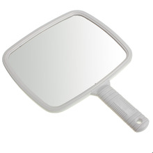 Girls Makeup Big Square Plastic Hand Mirror Handle Large Makeup Mirror Handheld Dressing Vanity Cosmetic Beauty Make Up Mirror(China)
