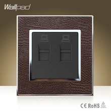 Module Wallpad Luxury Double Rj45 Jack Goats Brown Leather Plate Double RJ45 Internet Data Wall Sockets Free Shipping(China)