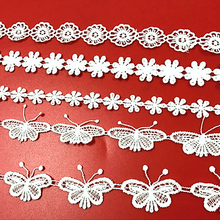Urijk 5PCs Lace Butterfly Flowers Sew On Patches For Clothing Embroidered Patches Appliques DIY Fabric Badges Apparel Stickers