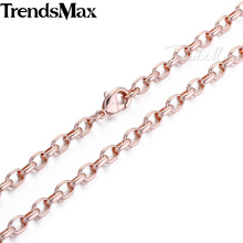Trendsmax 4MM Oval Link Mens Chain Womens Unisex Boys Rose Gold Filled Necklace Custom Length Fashion Wholesale Jewelry GN355