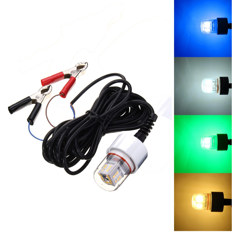 White Yellow Blue Green 2835 SMD LED Lamp Bulb 15W 12V Underwater Fishing Squid Fish Lure light IP68 Waterproof LED Fishing Lamp<br>