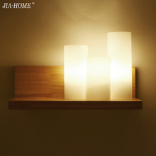 Simple wall lamp for living room bedroom Wall wooden and milk with glass lampshade wall light Fixture Free Shipping(China)