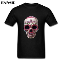 Plus Size Real Sugar Skull 2017 New Trendy Tshirt Man Short Sleeve Crewneck Cotton Men T Shirt Adult Clothes(China)