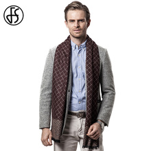 FS Plaid Scarf Winter Men Brand Cashmere Scarves Square Designer Soft Warm Scarf Wool Gray Blue Brown Scarfs Men Long Warp Shawl(China)