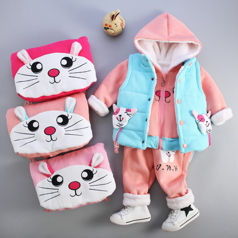 Children Girls Clothing Set Plus Velvet Thicken Winter Clothes Cartoon Cat  High Quality Vest + Coat + Pants Sport Clothes Sets<br>