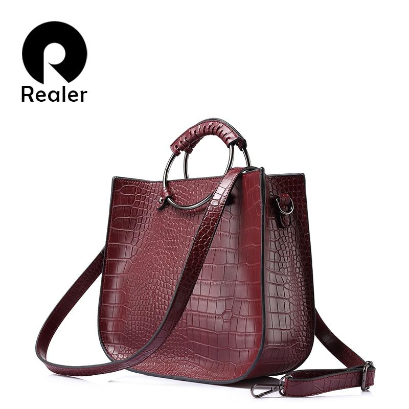 REALER women bag women handbag ladies hollow out tote bag female zipper alligator print shoulder bag for women 2017 new<br>