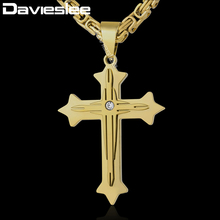 Davieslee 2-Layer Cross Pendant Necklace Mens Chain Byzantine Box Link Stainless Steel Silver Gold Black DKPM90(China)