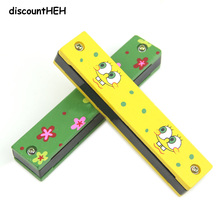 Baby Wood Plastic Harmonica Fun Double Row 16 Holes Harmonica Toy Musical Early Educational Toy Random Color(China)