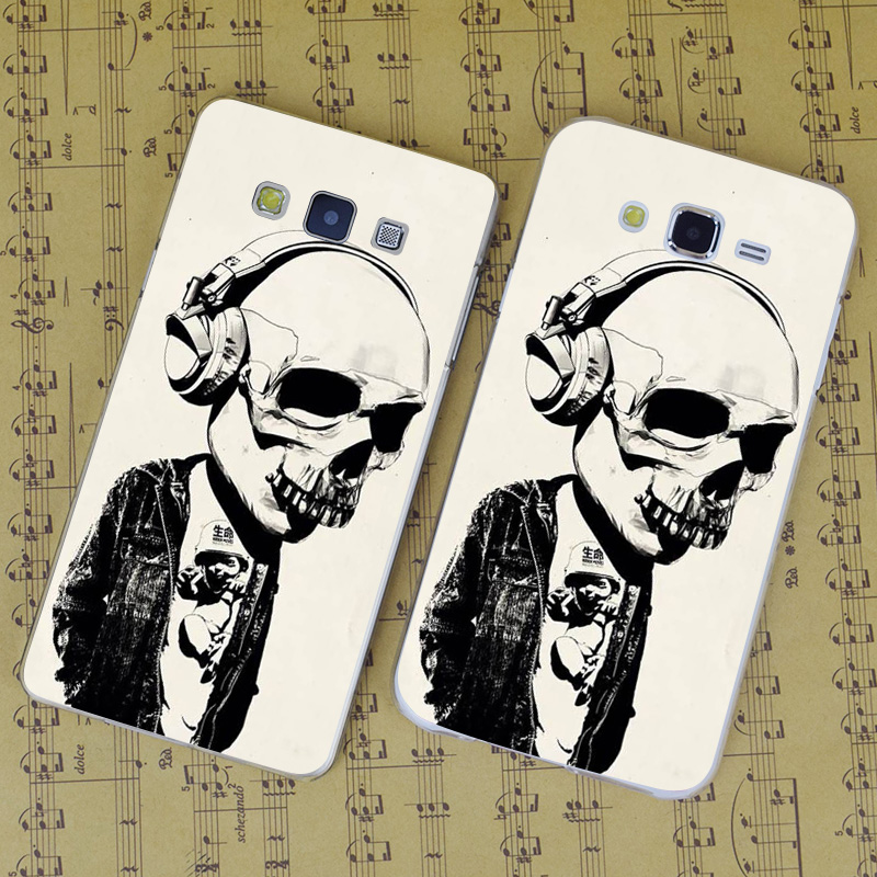 B1085 Earphone Skull Transparent PC Hard Case Cover For Samsung Galaxy J 3 5 7 A 3 5 7 8 9 2016 GRAND 2 PRIME(China (Mainland))
