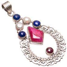 "StarGems(tm) Natural Cherry Ruby,Lapis Lazuli,River Pearl and Amethyst 925 Sterling Silver Pendant 2 1/4""(China)"