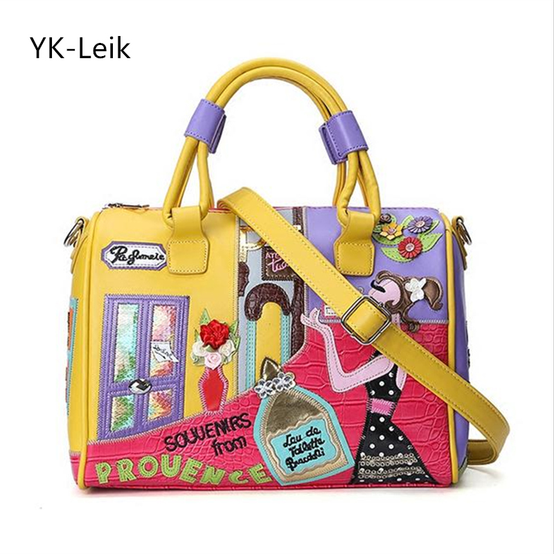 YK-Leik 2017 summer fresh handbag designer womens bag High quality PU leather embroidery Boston bag handbags shoulder bags<br>