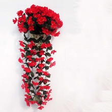 New Violet Artificial Flower Bouquet Rattan Vine Leave Project soft-mounted Wall Hanging Flower Pipeline Decorative Flower(China)
