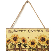 2017 Hot Sale Wooden Plaque Autuman Greetings Sunflower Hanging Board Wall Art Thanksgiving Day Holiday Home Decoration Supplies(China)