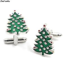 Christmas Gifts Top Grade Luxury Crystal Enamel Christmas Trees Cufflinks For Mens And Women Shirt Brand Cuff Buttons Cuff Links(China)