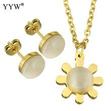 YYW Fashion Stainless Steel Jewelry Sets earring & necklace with Cats Eye Flower gold color plated chain & for woman Sold By Set