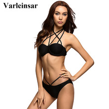 Varleinsar Black Sexy bikini set bra cup push up bikini two pieces swimsuit female swimwear women bathing suit swim biquini V230