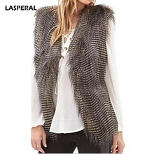 LASPERAL 2017 Plus Size Faux Fur Vest Winter Warm Women Luxury Fur Coat High Quality Jackets Coat Sleeveless Streetwear Female(China)