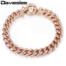 Buy Davieslee Rose Gold Filled Mens Womens Bracelet Chain Curb Cuban Link Fashion Jewelry 10mm 7-11inch LGB79 for $5.46 in AliExpress store