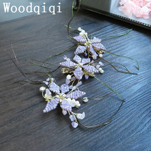 Woodqiqi 3PCS/pack new purple flower bridal head accessories wedding crystal bride wreath hair jewellery Hair clips barrettes