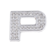 X Autohaux Bling Rhinestones Silver Tone English Letter P Style 3D Emblem Sticker For Car
