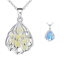 Lureme New Magical Glow in the Dark Luminous Charm Angel Wing Pendant Necklace for Women Silver Plated Jewelry (01003857)