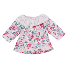 2017 Adorable Newborn Infant Toddler Baby Girls Lace Floral shirt Flower Long Sleeve Tops Blouse Outfits For 0-24M(China)