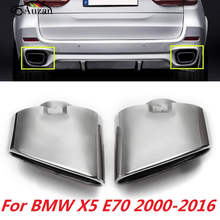 Pair Chrome Exhaust Dual Tail Pipe Muffler Tip Stainless Steel For BMW X5 E70 00-16(China)