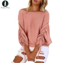 Today Plus Knitted Autumn Blouses Skew Collar Fashion Long Sleeve Batwing Sleeve Top Knitting Wool Shirts(China)