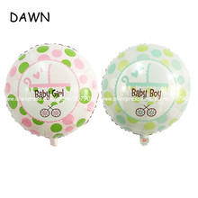 wholesale 50pcs/lot 18 inch cartoon baby carriage balloon birthday party decorating balloon child one year old toy balloons(China)